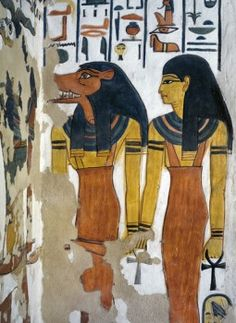 Egypt, Thebes, Luxor, Valley of the Queens, Tomb of Nefertari, mural painting in Burial chamber from 19th dynasty  - stock photo