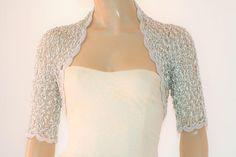 Grey silver crochet shrug/ Wedding bolero shrug//Bolero