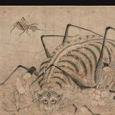 """Tsuchigumo no Sōshi Emaki, Kamakura period, 13th century. Tokyo National Museum. Narrative picture scroll depicting the battle between Tsuchigumo (a demon in the shape of a giant ground spider) and Minamoto no Yorimitsu, a general in the mid-Heian period. The story is well known as an episode in Taiheiki (a warrior tale) and the Noh song """"Tsuchigumo."""""""