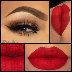 22 Looks to Fall in Love With ❤ liked on Polyvore featuring beauty products, makeup, eyes, lips, beauty, red, red makeup, red lip makeup, valentines day makeup and lips makeup