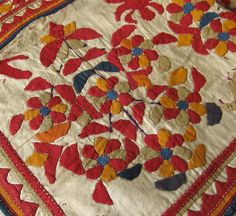 embroidered and appliqued textile from Gujarat, India approximately 70 to 90 years old