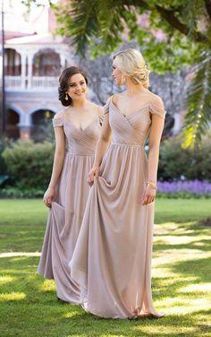 Off the shoulder chiffon bridesmaid dresses / www.deerpearlflow...