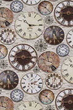 DIGITAL PRINT VINTAGE OLD CLOCKS 100% COTTON CURTAIN UPHOLSTERY FABRIC