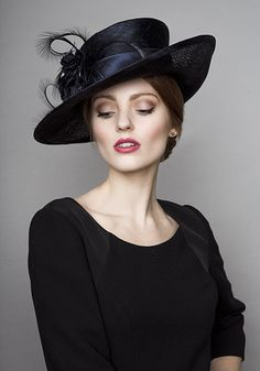 Rachel Trevor Morgan Millinery  Autumn Winter 2015 R15W31 Navy sidesweep with curled feathers and silk flowers