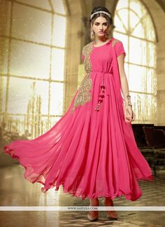 Add grace and charm on your appearance in this pink georgette anarkali salwar kameez. Beautified with embroidered and resham work all synchronized effectively with the trend and style of the attire. C...