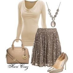 everything but the skirt and purse. Pale enough champagne that it might work, silver toned would look even better.