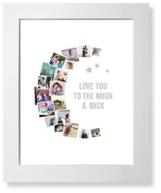 To The Moon Collage Art Print, White