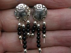 Sterling Silver Earrings,Oxidation to enhance stamping Sterling Silver and Black Onyx Dangles. etsy.com/shop/boppottery