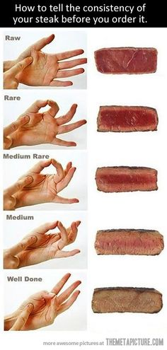 How to tell the consistency of your meat before you order it, just by feeling your hand. So cool!