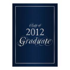 Classy Blue and Silver 2012 #Graduate #Invitation