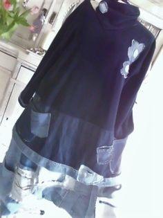 ♥upcycling♥kuschlig♥♥kleid♥ schabby♥hippie lagenlook ♥elfen ♥patwork jeans isy