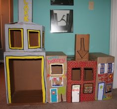 this would be so fun in the basement. CArdboard store fronts/play areas. Could be a great winter long project. :)