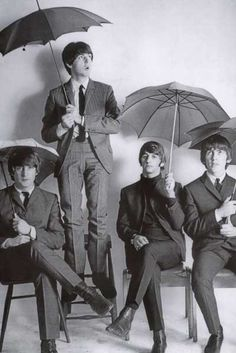 A great poster of The Beatles around the time of Hard Days Night! It's unlucky to open an umbrella inside unless you're these guys. Ships fast. 24x36 inches. Check out the rest of our FABulous selecti