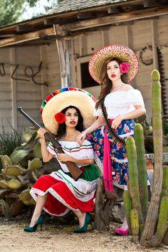 "Pinup Model Tania Fonseca & Jamie Gaxiola ""La Revolucion Mexicana""  © Hugo Benson Photography"