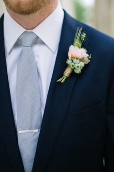 Light grey and navy groom with a spring wedding boutonniere Blue Suit Wedding, Wedding Ties, Wedding Groom, Wedding Colors, Wedding Flowers, Fall Wedding, Gray Tuxedo Wedding, Mens Wedding Suits Navy, Navy Spring Wedding
