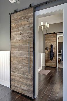 41 Amasing Wood Door Design - Modern Home Design Sliding Door Design, Sliding Wall, Hanging Sliding Doors, Custom Wood Doors, Barnwood Doors, Interior Decorating, Interior Design, Interior Modern, Kitchen Interior