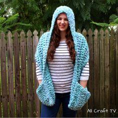 Crochet Ocean Breeze Hooded Pocket Scarf designed by All Craft TV Crochet Scarves, Crochet Clothes, Boho Crochet Patterns, All Craft, Craft Work, Scarf Design, Breeze, Free Crochet, Hoods