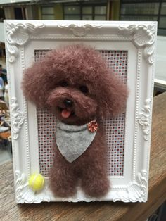 Needle wool felting puppy portrait on picture by KathycCollection Needle Felted Animals, Felt Animals, Needle Felting, Wool Felting, Pom Pom Crafts, Felt Crafts, Yarn Dolls, Yorkshire Terrier, Felt Dogs