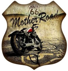 Retro Route 66 Hotrod Shield Metal Sign 15 x 15 Inches Route 66 Usa, Route 66 Sign, Old Route 66, Route 66 Road Trip, Historic Route 66, Vintage Metal Signs, Motorcycle Art, Motorcycle Garage, Old Signs