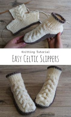 Knit Easy Celtic Slippers Knitting Paterns, Easy Knitting, Knitting Stitches, Knitting Socks, Knitting Tutorials, Knit Slippers Free Pattern, Knitted Slippers, Knit Crochet, Free Time