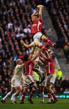 Sam Warburton of Wales takes a lineout vs England