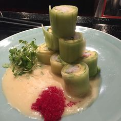 Salad rolls filled with snow crab and avocado