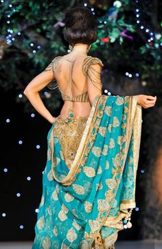 love the work and style of this choli and the turquoise color!