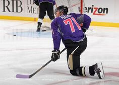 Evgeni Malkin of the Pittsburgh Penguins wears a #HockeyFightsCancer jersey during warm ups. #Christmas #thanksgiving #Holiday #quote