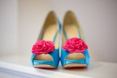 Blue & Pink Wedding Shoes - Photography by Susie