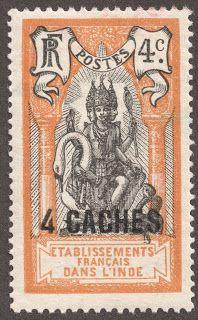 """French India 1923-28 4ca on 4c orange & black """"Brahma"""""""