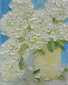 Hey, I found this really awesome Etsy listing at https://www.etsy.com/listing/228862212/white-hydrangea-painting-impasto