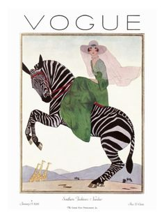 Woman in green riding a zebra, by André E. Marty for the cover of 'Vogue' magazine, January 1926.