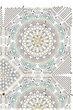 Can make colourful motifs - Salvabrani The Ultimate Granny Square Diagrams Collection ⋆ Crochet Kingdom Motif Mandala Crochet, Crochet Circles, Crochet Motifs, Crochet Blocks, Crochet Diagram, Crochet Stitches Patterns, Crochet Chart, Crochet Squares, Stitch Patterns