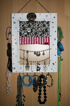 Homemade jewelry organizer is beautifully complete Handmade
