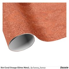 Hot Coral Orange Glitter Metallic Minimal Abstract Wrapping Paper