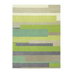 Contemporary woven rug in different shades of  tonal greens and grey band together in a refined rug with striking pattern.