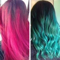 DOUBLE the awesome from the amazing & talented team at Head Candy!! On the left is the gorgeous rooted bright pink done by Alexis several months ago that barely faded because the client takes such great care of her color! On the right is the new Teal Mermaid hair done by Rianna! She used Olaplex & Wella Blondor to lighten her up with ZERO DAMAGE & used Arctic Fox Aquamarine with a few drops of Phantom Green for the Teal & Wella Color Touch 4/0 for the rooted effect!! #salonheadcandy