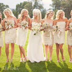 Love love the lace bridesmaids dresses, with boots and jean jackets?