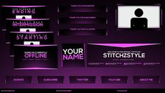 Pink and Black twitch rebrand template pack, beautiful scheme to give your streams and social media the branding they deserve