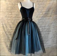 Black and tiffany blue aqua  tutu skirt for women.  Ballet glamour. Retro look tulle skirt.. $145.00, via Etsy.