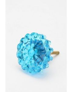 Pressed Glass Flower Knob - Turquoise...