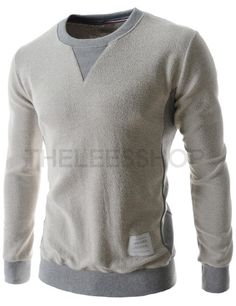 (EBT02-IVORY) Mens Two-Tone Round Neck Inside Out Style Logo Patch Long Sleeve Tshirts