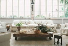 Great space. Love the white and wood mix.
