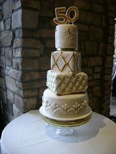 Golden Jubliee 50th Wedding Anniversary cake