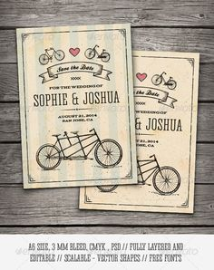 Retro Bicycles Save The Date Card — Photoshop PSD #groom #wed • Available here → https://graphicriver.net/item/retro-bicycles-save-the-date-card/8502910?ref=pxcr