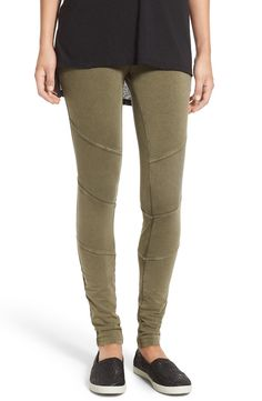 Ribbed knee panels and angled seams lend a moto-inspired look to these knit leggings from the Nordstrom Anniversary Sale.