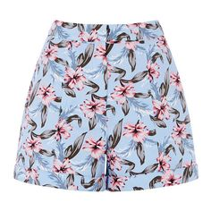 TROPICAL LILY SHORTS ($5.14) ❤ liked on Polyvore featuring shorts, bottoms, short, flowers, summer shorts, patterned shorts, tailored shorts, print shorts and short shorts