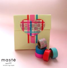 Valentine gift wrapping with masking tape. masté is a colorful and vivid, creative masking tape brand by MARK'S Tokyo Edge