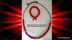 Parure bracelet & collier perles bois,métal & strass ! du pep's à vos tenues !