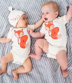 Bright Eyed and Bushy Tailed Organic Baby Onesie from The Printed Palette